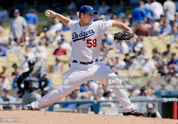 Dodgers 58 Chad Billingsley during a major league baseball game between the Colorado Rockies and the Los Angeles Dodgers played at Dodger Stadium in...