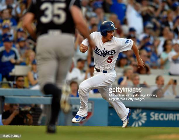 Dodgers Corey Seager sprints home to score on a hit by Adrian Gonzalez in the 1st inning in Los Angeles CA on Saturday July 2 2016