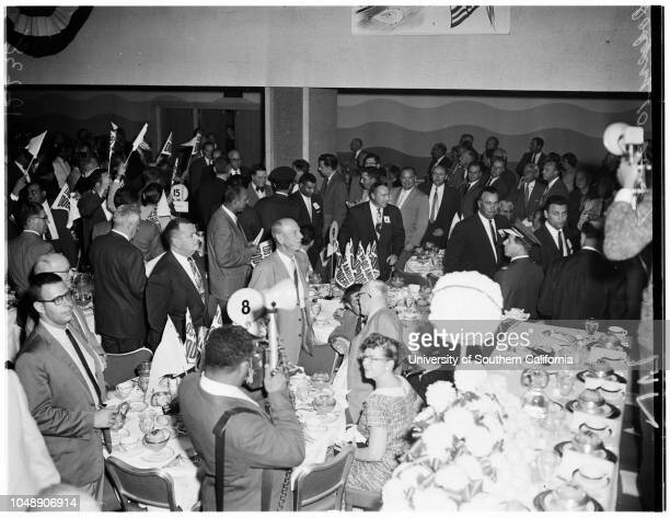 Dodgers dinner, 28 October 1957. Franklin S Payne;Pee Wee Reese;Leo Durocher;Walter O'Malley;Mayor Norris Poulson;Joe E Brown;Ed W Carter;Charles...