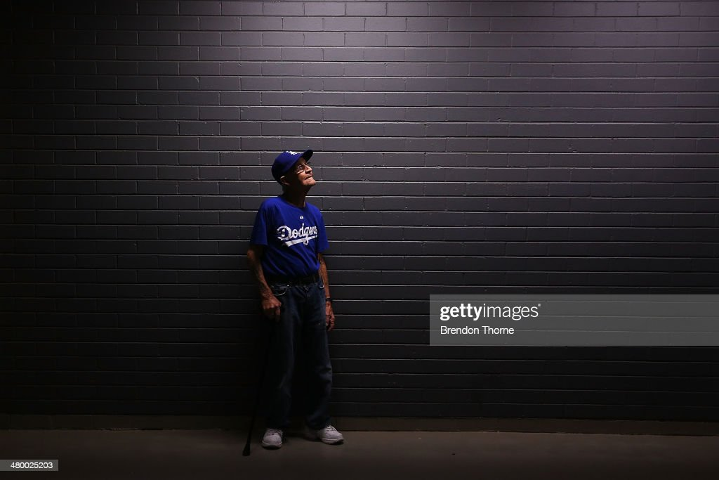A Dodgers fan shows his colours during the opening match of the MLB season between the Los Angeles Dodgers and the Arizona Diamondbacks at Sydney Cricket Ground on March 22, 2014 in Sydney, Australia.