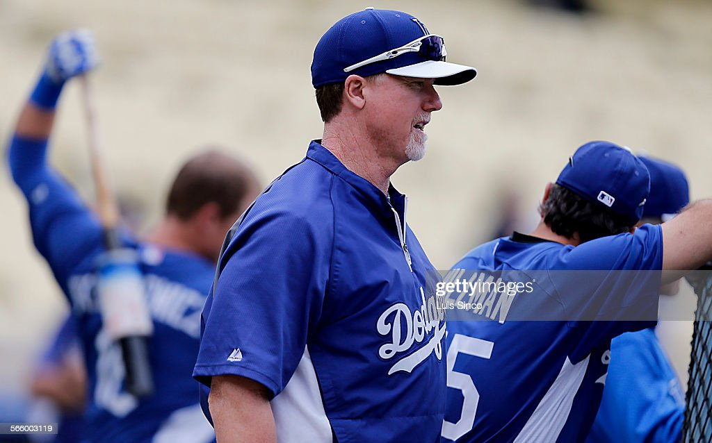 e96f396e99c Dodgers hitting coach Mark McGwire watches batting practice before a game  against the Diamondbacks on Wednesday