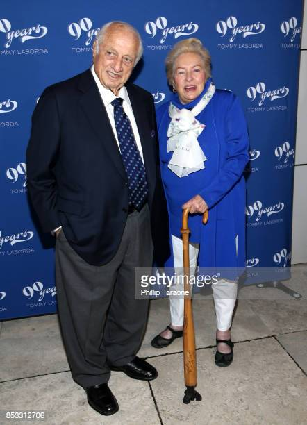 Dodgers legend Tommy Lasorda and Jo Lasorda at Tommy Lasorda's 90th Birthday Celebration at The Getty Center on September 24 2017 in Los Angeles...