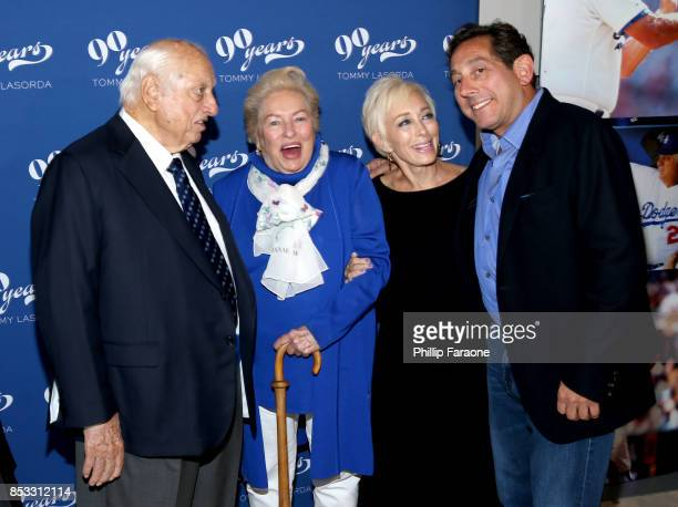 Dodgers legend Tommy Lasorda Jo Lasorda Laura Lasorda and Steel Partners CEO Warren Lichtenstein at Tommy Lasorda's 90th Birthday Celebration at The...