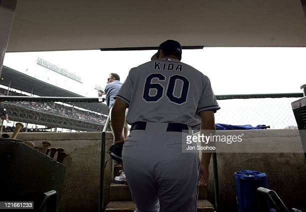 Dodgers' pitcher Masao Kida walks through the tunnels of Wrigley Field to start his first game as a Dodger