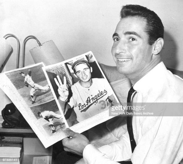 Dodgers' pitcher Sandy Koufax in his hotel room at the Roosevelt Hotel after throwing his third nohitter
