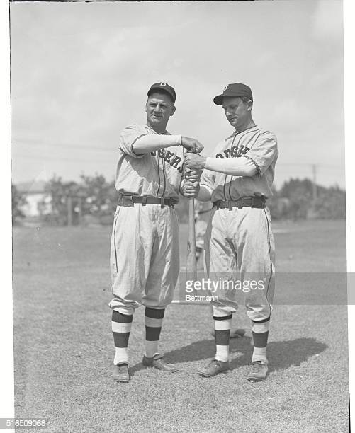 Dodgers Start Spring Training Jake Flowers infielder and Max Carey manager choose up sides during an impromptu game at Miami Fla where the Brooklyn...