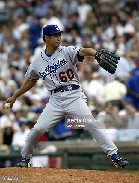 Dodgers' starting pitcher Masao Kida during Los Angeles Dodgers vs Chicago Cubs August 15 2003 at Wrigley Field in Chicago Illinois United States