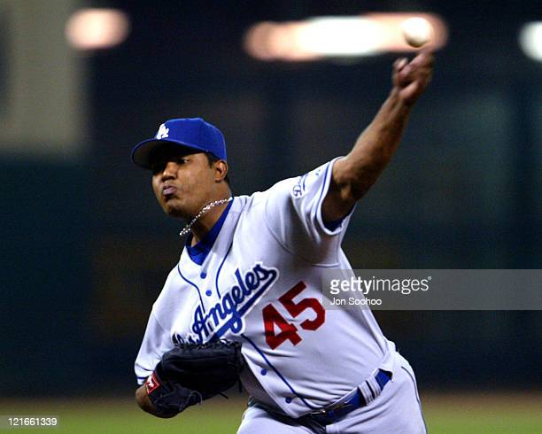 Dodgers' starting pitcher Odalis Perez during Los Angeles Dodgers vs Houston Astros Augest 26 2003 at Minute Maid Park in Houston Texas United States