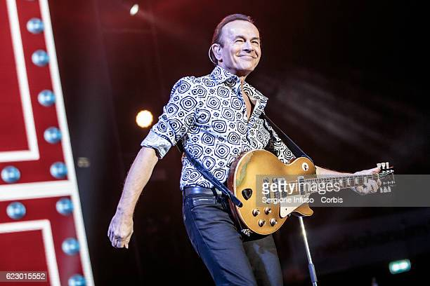 Dodi Battaglia of Italian pop band Pooh performs on stage on November 11 2016 in Milan Italy