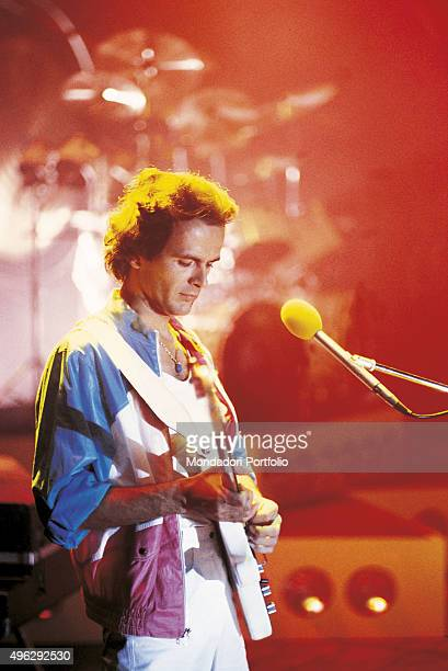 Dodi Battaglia the singer and guitarist of the Italian band Pooh, during a concert. Italy, 1982