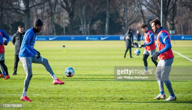 Dodi Lukebakio and Lucas Tousart of Hertha BSC during the training session at Schenckendorffplatz on January 26, 2021 in Berlin, Germany.
