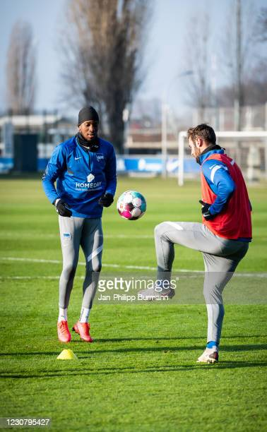 Dodi Lukebakio and Mathew Leckie of Hertha BSC during the training session at Schenckendorffplatz on January 26, 2021 in Berlin, Germany.