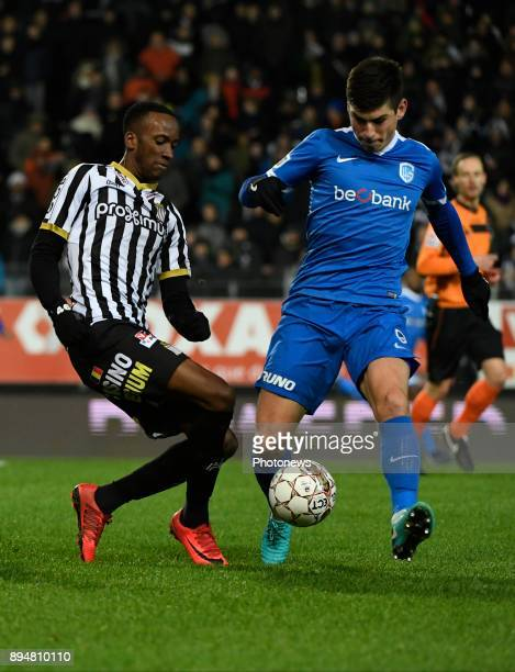 Dodi Lukebakio midfielder of Sporting Charleroi and Ruslan Malinovskyi midfielder of KRC Genk pictured during match of the Jupiler Pro League Season...