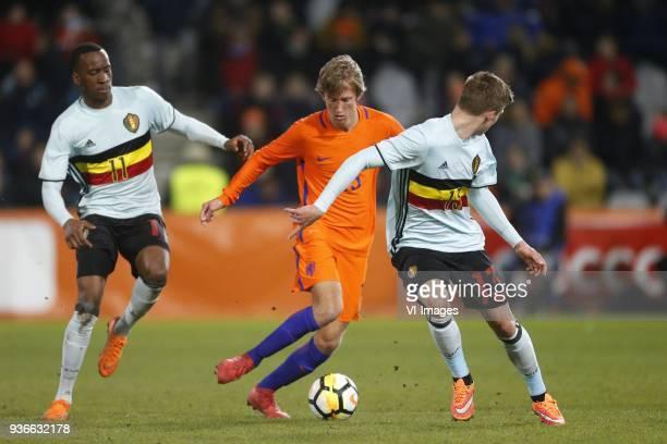 Dodi Lukebakio Ngandoli of Jong Belgium Michel Vlap of Jong Oranje Jur Schryvers of Jong Belgium during the International friendly match between...