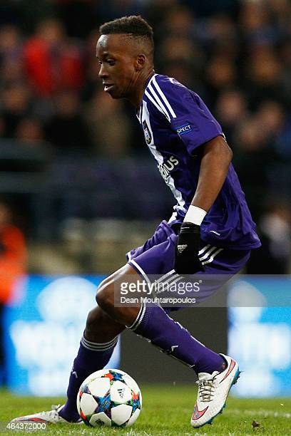 Dodi Lukebakio of Anderlecht in action during the UEFA Youth League Round of 16 match between RSC Anderlecht and FC Barcelona held at Constant Vanden...