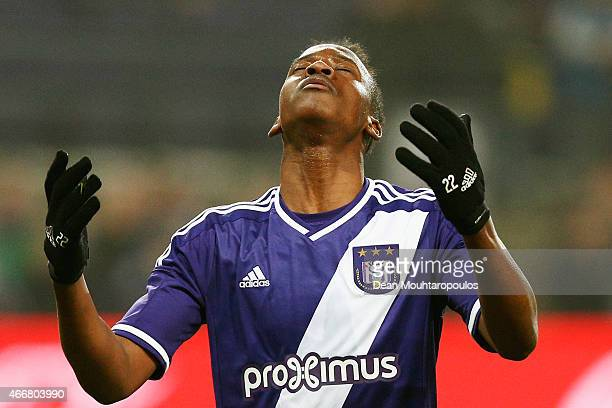 Dodi Lukebakio of Anderlecht reatcs to a missed a chance on goal during the UEFA Youth League quarter final match between RSC Anderlecht and FC Porto...