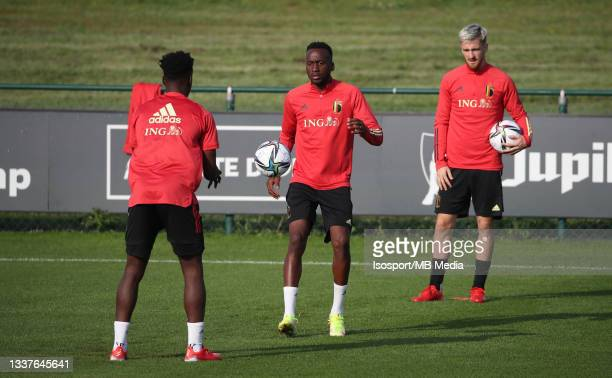 """Dodi Lukebakio of Belgium during a training session of the Belgian national soccer team """" The Red Devils """" ahead of the upcoming FIFA World Cup Qatar..."""