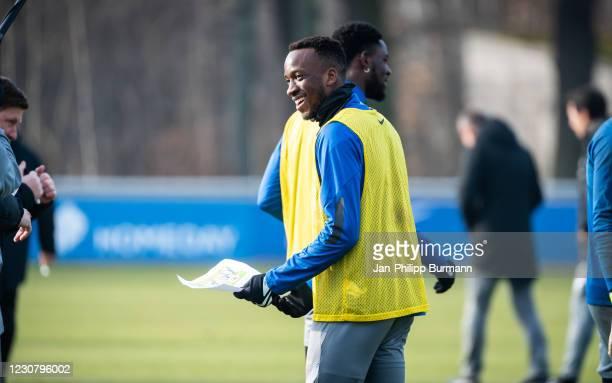 Dodi Lukebakio of Hertha BSC during the training session at Schenckendorffplatz on January 26, 2021 in Berlin, Germany.