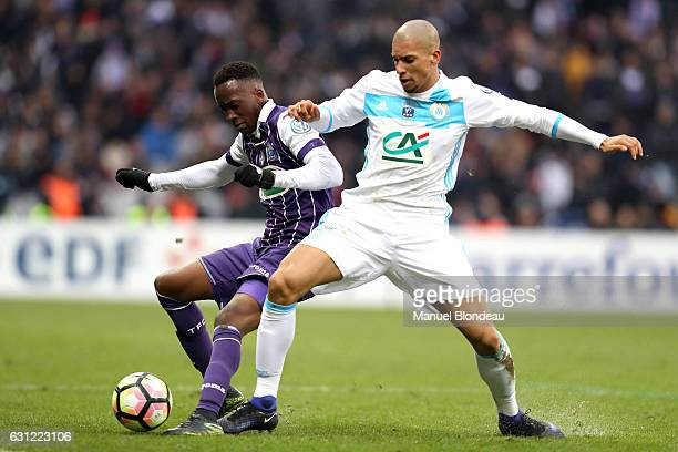 Dodi Lukebakio of Toulouse and Matheus Doria of Marseille during the French National Cup match between Toulouse FC and Olympique de Marseille round...