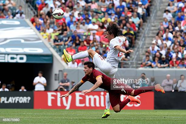 Dodo of FC Inter Milan and Iturbe of AS Roma compete for the ball during the International Champions Cup 2014 at Lincoln Financial Field on August 2...