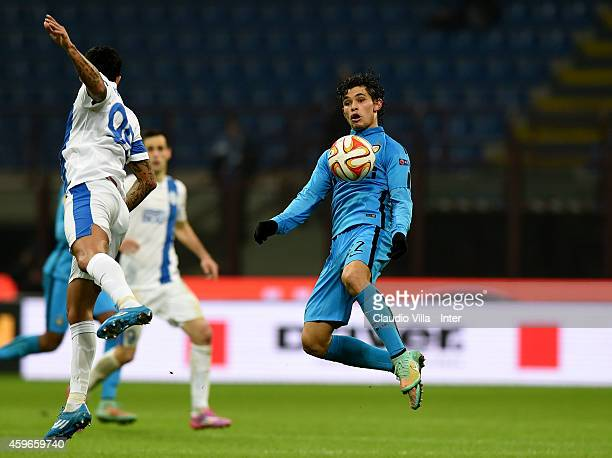Dodo of FC Internazionale jumps to meet the ball during the UEFA Europa League Group F match between FC Internazionale Milano and FC Dnipro...