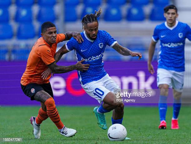 Dodo of Shakhtar Donetsk, Theo Bongonda of KRC Genk during the Champions League qualification match between KRC Genk and Shakhtar Donetsk at Luminus...