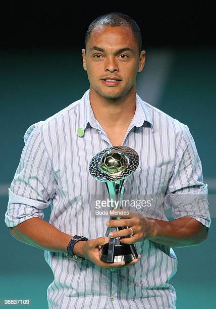 Dodo of Vasco with his trophy of Best Forward during the Trophy Ceremony of Rio's State Soccer Championship at Vivo Rio on May 3rd 2010 in Rio de...