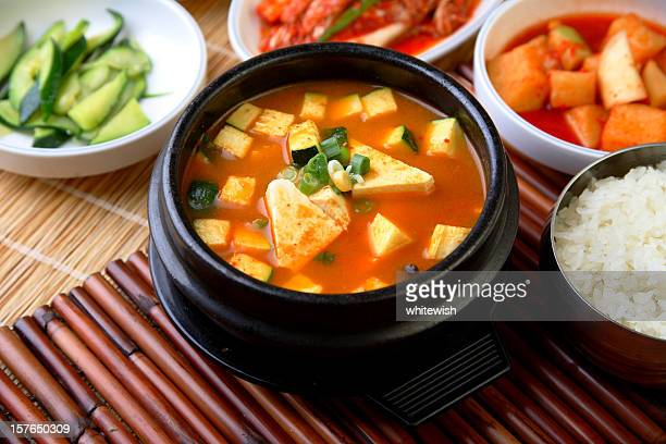 doenjang soup - korean culture stock pictures, royalty-free photos & images