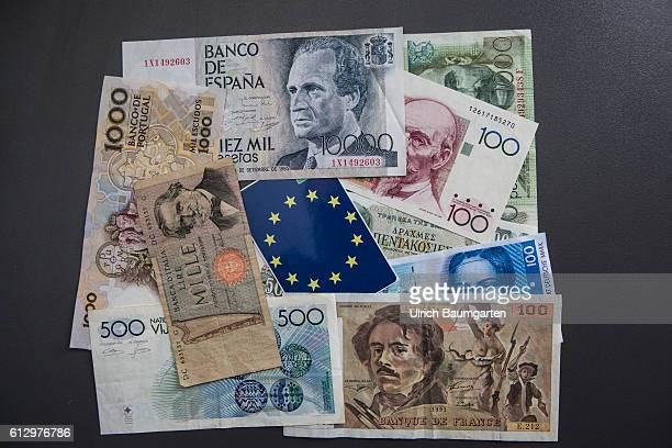 Does Europe have a future Symbol photo on the subject of Brexit and possible further exits from the community The photo shows old currncies like the...