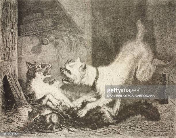 A dog and a cat are competing for a rat in a trap by Zacharie Noterman lithograph by Pirodon illustration from Le Musee Francais n 51 March 1859