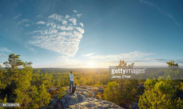 dog and owner looking out at landscape - nature stock pictures, royalty-free photos & images
