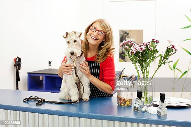dog at pet grooming salon - pet grooming salon stock pictures, royalty-free photos & images