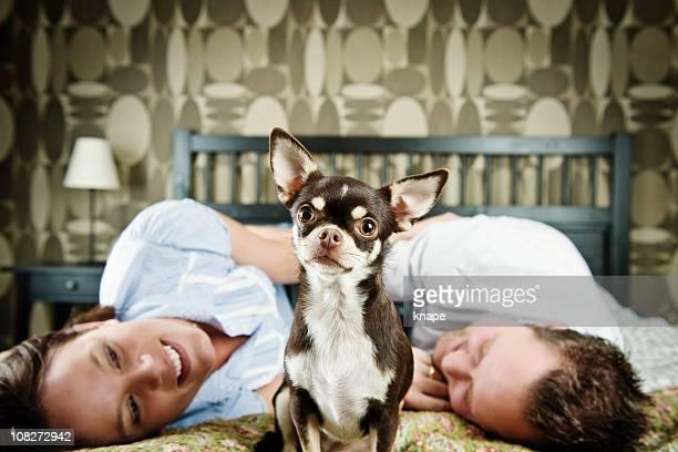 Hund zwischen einem Paar im Bett