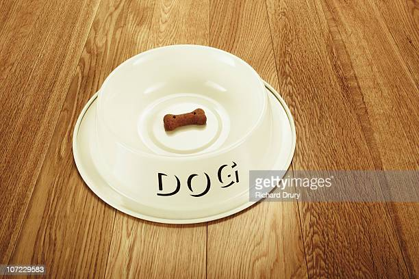 Dog Bowl with one dog biscuit left