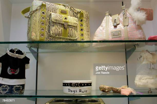 Dog carrying cases and other accessories are on sale at the Chateau Poochie the luxury hotel for dogs and cats December 13 2007 in Pompano Beach...