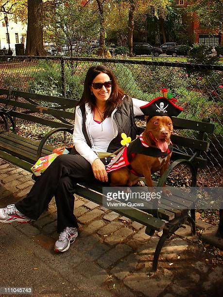 Dog dressed in a pirate costume on a park bench in Tompkins Square Park located in the East Village, New York City. Halloween Dog Parade 2010.