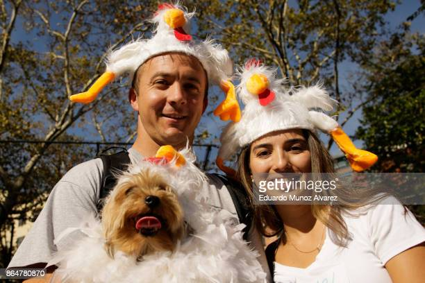 Dog in costume and its owners attend the 27th Annual Tompkins Square Halloween Dog Parade in Tompkins Square Park on October 21, 2017 in New York...
