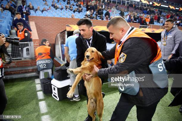 Dog is being taken out of the area by officials after it invades the pitch ahead of the UEFA Europa League Group C soccer match between Trabzonspor...