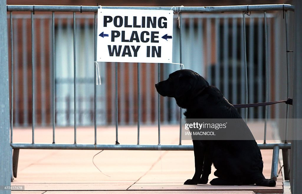 A dog is tied to railings at a polling station in Glasgow, Scotland, on May 7, 2015, as Britain holds a general election. Polls opened Thursday in Britain's closest general election for decades with voters set to decide between the Conservatives of Prime Minister David Cameron, Ed Miliband's Labour and a host of smaller parties.
