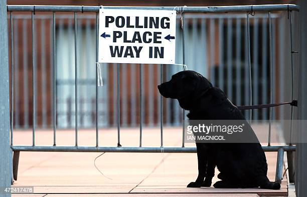 A dog is tied to railings at a polling station in Glasgow Scotland on May 7 as Britain holds a general election Polls opened Thursday in Britain's...