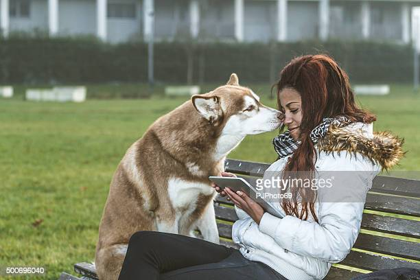 dog kissing a young woman with tablet - pjphoto69 stockfoto's en -beelden