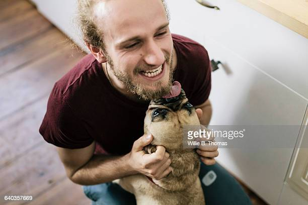 dog licking face of owner - candid stock pictures, royalty-free photos & images