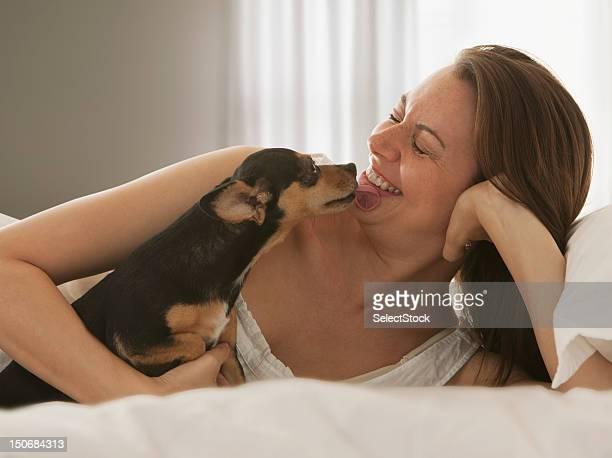 cachorro lambendo mulher na cama - só uma mulher de idade mediana - fotografias e filmes do acervo