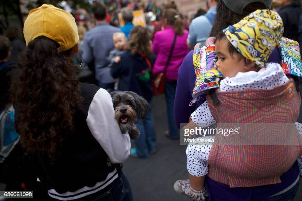 Dog Molly is held by a demonstrator attending a counter protest rally organized by the NAACP in response of a planned Klu Klux Klan rally to be held...
