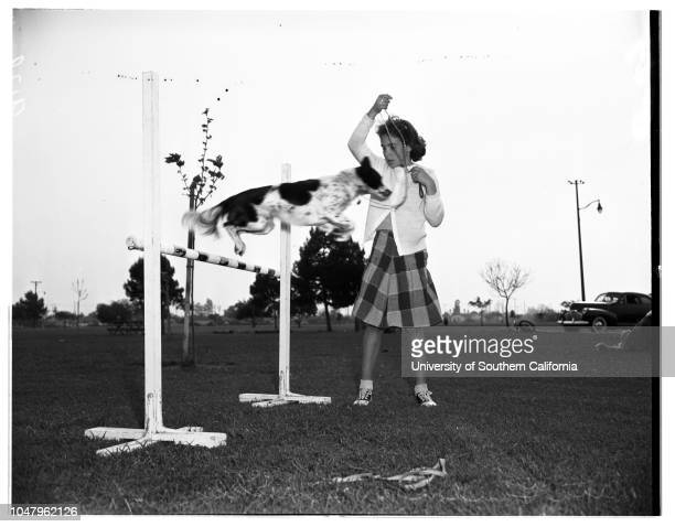 Dog obedience classes Lynwood 15 April 1951 Frances Sanders 9 years old with dog 'Lady Linda'Rita Landon 11 years old with dog 'Speckles'Pat...