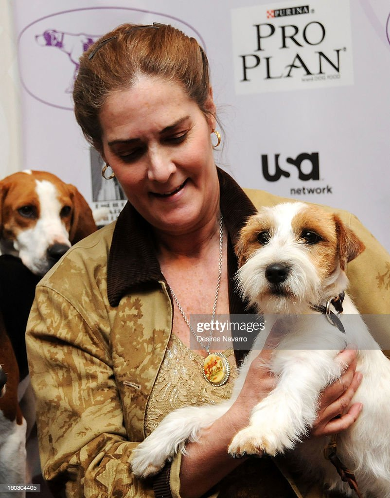 Dog owner Candace Lundin and her Russell Terrier dog 'Legs' attend The Westminster Kennel Club 137th Annual Dog Show - Press Conference at Affinia on January 28, 2013 in New York City.