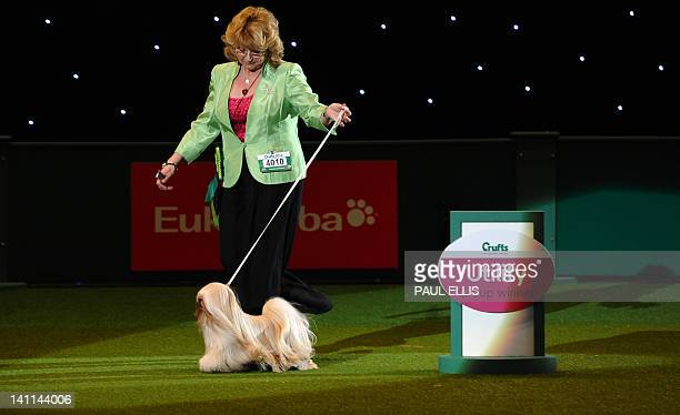 Dog owner Margaret Anderson and Elizabeth, a Lhasa Apso from Coventry celebrate winning the Best in Show category of the Crufts Dog Show at The...