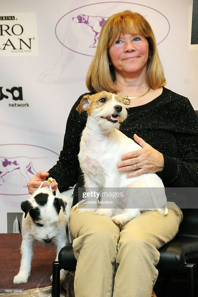 Dog owner Sue Sobel and her Russell Terrier dogs (L) Pepper and (R) 'Madison' attend The Westminster Kennel Club 137th Annual Dog Show - Press Conference at Affinia on January 28, 2013 in New York City.