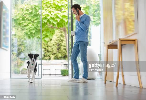 Dog running past man in kitchen