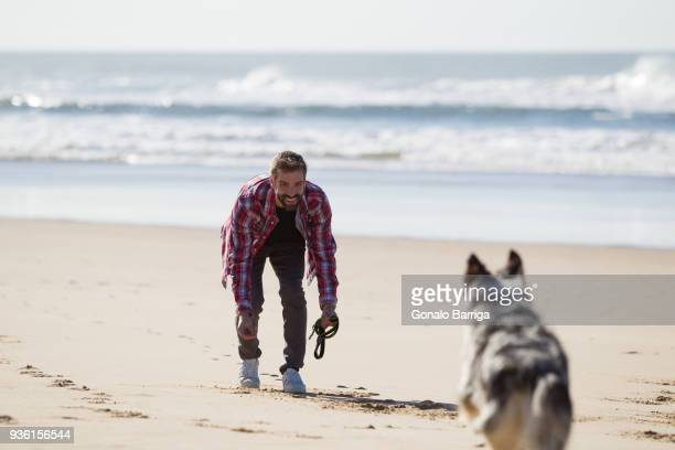 Dog running to male owner on beach